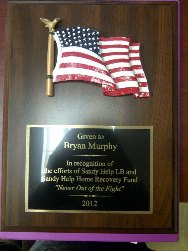 Murphy was awarded for his non-profit organization, Sandy Help LB.  Photo Credit: Bryan Murphy