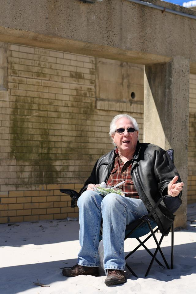 Ken Springer, 69, eats his caesar salad and chocolate chip cookie under the Long Beach Boardwalk every Saturday. Photo Credit: Amanda Salvucci