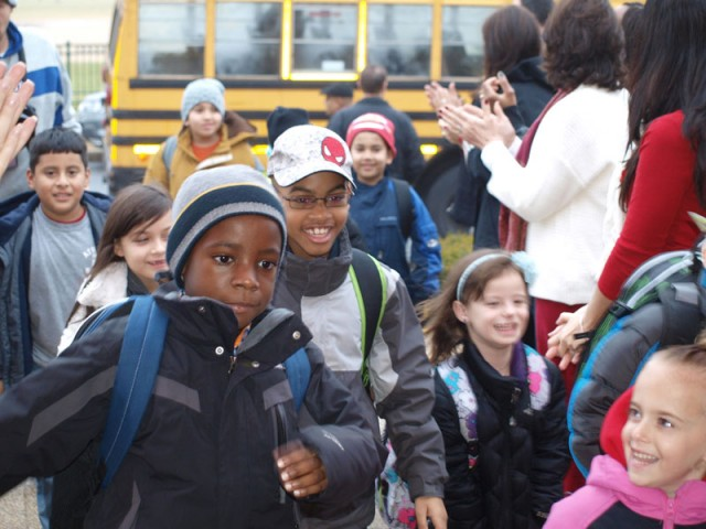 Students returning to school on December 10th. Photo Credit: Steve Kolodny/Leo F. Giblyn Elementary Public Relations