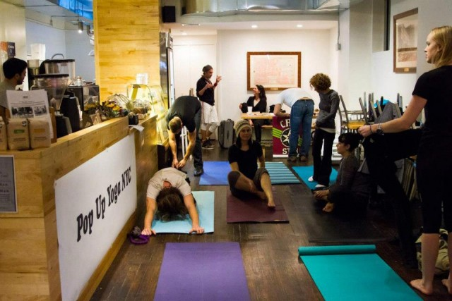 Setting up for the donation based event at Pushcart Coffee in NYC. Photo Credit: SandyBaggers